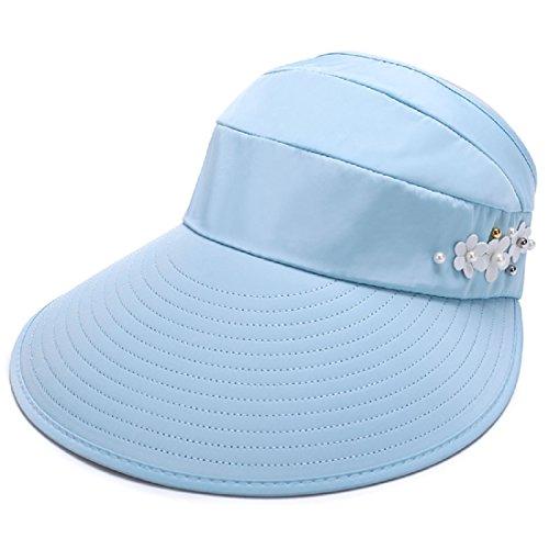 - LLmoway Lady Visor Hat Wide Brim Tennis Sun Hat UV Protection Folding Beach Fishing Cap Light Blue