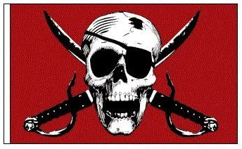 Red Skull Bicycle Safety Flag with Axle Mounting Bracket NEW 6 ft