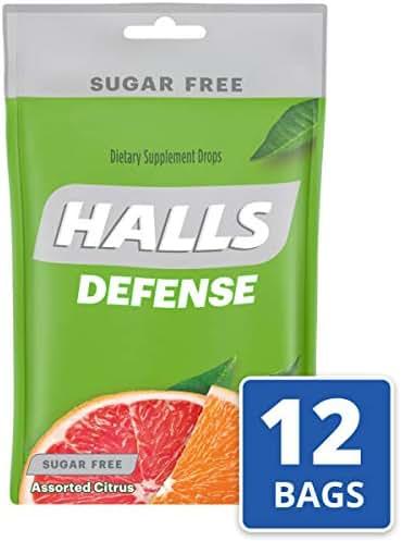 Halls Defense Citrus Sugar Free Vitamin C Drops - 300 Drops (12 bags of 25 drops)