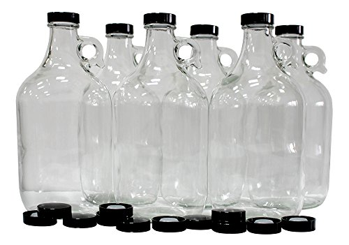 True Fabrications Set of 6-1/2 gallon Glass Beer Growlers-Comes W/ 12 Extra Poly Seal Caps, Clear