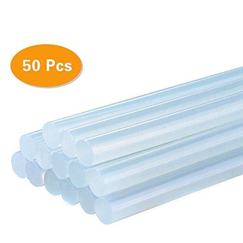 FireBee Large Hot Glue Sticks 50 Pcs Full Size Clear for Big Hot Glue Guns 8 Long 0.43 Diameter