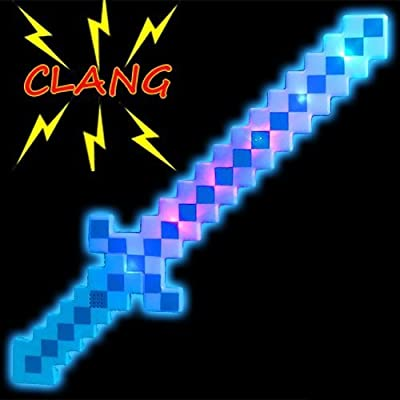 BLUE 24 inches DIAMOND Pixel Sword Minecraft Deluxe STYLE with LED Light up and FX Sounds PLASTIC from itisyours