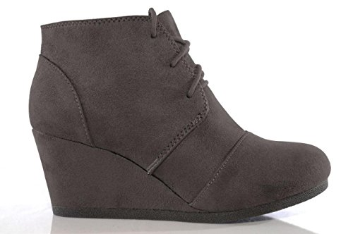 (MARCOREPUBLIC Galaxy Womens Wedge Boots - (Charcoal) - 10)