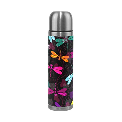 DEYYA Colorful Dark Green Yellow Blue Dragonfly Pattern Print 17 oz Double Walled Vacuum Insulated Stainless Steel Water Bottle Vacuum Flask Travel Mug Thermos Coffee Cup
