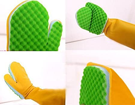 OKS Model No.1008 Latex PU Sponge Cleaning Glove Scrubber, 1 Piece Right Hand