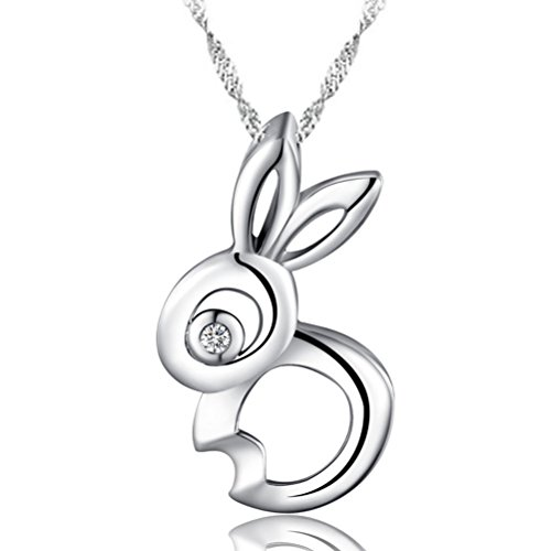- Sojewe 925 Sterling Silver Rabbit Pendant White Gold Plated Cubic Zirconia Women Necklace Birthday Gift