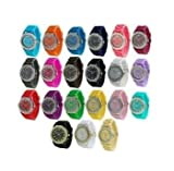 10 Assorted Geneav Crystal Rhinestone Large Face Watch Silicone Jelly Link Band