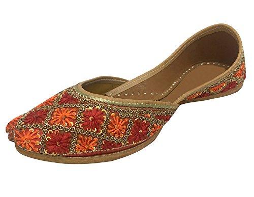 Step n Style Women's Chappal Gota Patti Work Flat Shoes Indian Designer Sandals Juti