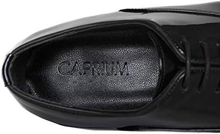 CAPRIUM - Zapatos de vestir para hombre (para bodas, forro interior), color negro brillante