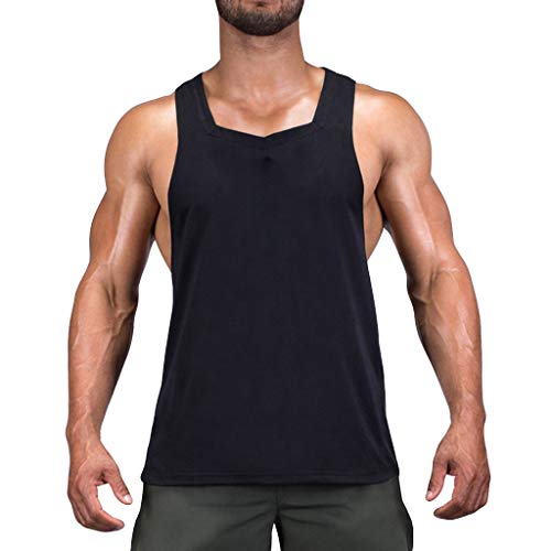 (POQOQ Men's Muscle Stringer Tank Tops Athletic Workout Gym Fitness Vest T-Shirts Men's Bodybuilding Gym Tank Tops XL Black)