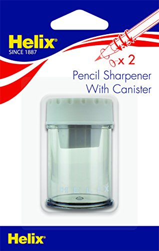 Helix Canister 2 Hole Pencil Sharpener, Assorted Colors (17087)