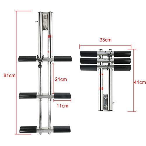 - DasMarine Heavy Duty 3 Steps Boat Marine Sport/Diver Ladder 316 Stainless Steel Dual Vertical Telescoping Tube with 2.5