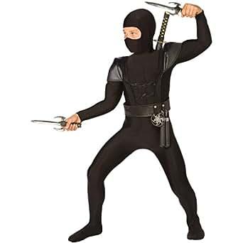 Living Fiction Boys's Black Fighter Ninja Halloween Costume, Large (12-14)