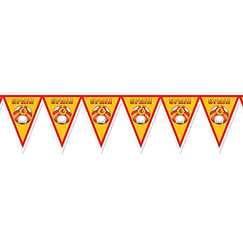 Pack of 6 Red, Yellow and White ''Spain'' Soccer Themed Pennant Banner Party Decorations 7.4' by Party Central