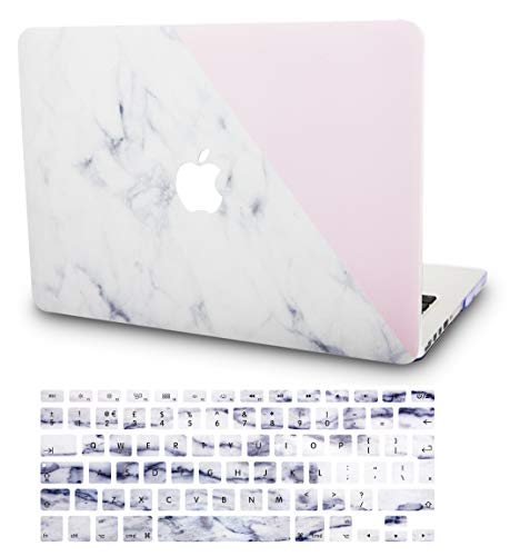 "KECC Laptop Case for MacBook Air 13"" w/Keyboard Cover Plastic Hard Shell Case A1466/A1369 2 in 1 Bundle (White Marble with Pink)"