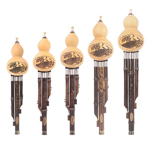 Saxophone Hulusi Flute Black Bamboo Hulusi Band Solo Ensemble Hulusi Five-Piece Set Collection Cucurbit Super Sound, Gift Harmonica (Color : C+B Flat+D+G+F) ()