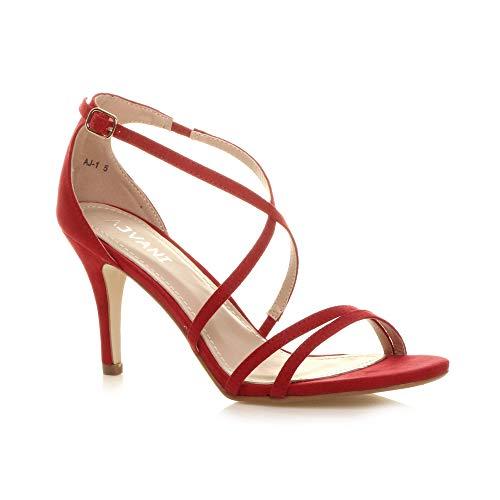 Bal Croisé Lanières Femmes Moyen Mariage Haut Talon Rouge Sandales Chaussures Taille Daim WEDYH2e9I
