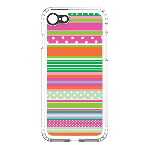 (DistinctInk SaharaCase for iPhone 7 / iPhone 8 (NOT Plus) - Clear Shockproof Custom Case - Protective Kit & ZeroDamage Screen Protector - Green Pink White Stripes Polka Dots)