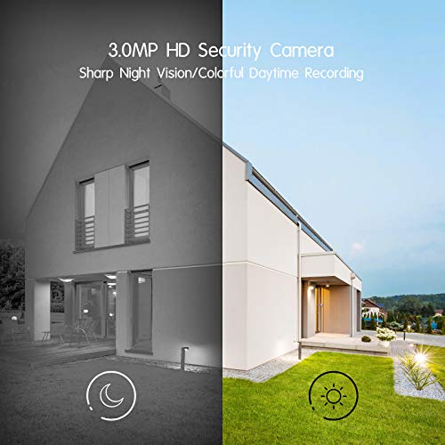 [Pan Tracking] ANRAN Wireless Security Camera System, 4ch Mini NVR 3MP Ultra HD Outdoor WiFi Surveillance IP Cameras with One-Way Audio,Motion Alert, Remote View,Waterproof,Night Vision,128G SD Card