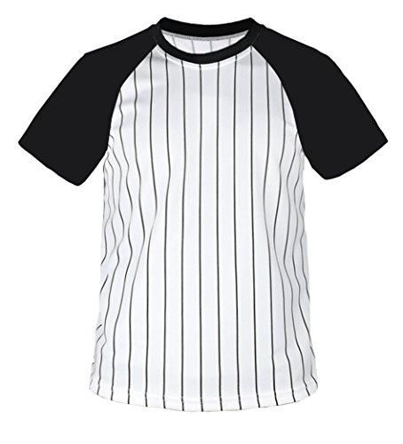 (myglory77mall Crewneck Pinstripe Baseball Raglan Coolmax Dryfit Tshirts Jersey US XL(2XL Tag) Black)