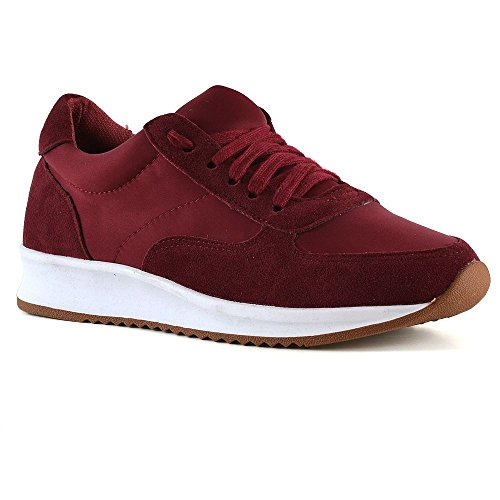 ESSEX GLAM Womens Gym Sneakers Burgundy Lace Up Walking Fitness Casual Trainer Shoes 10 B(M) US