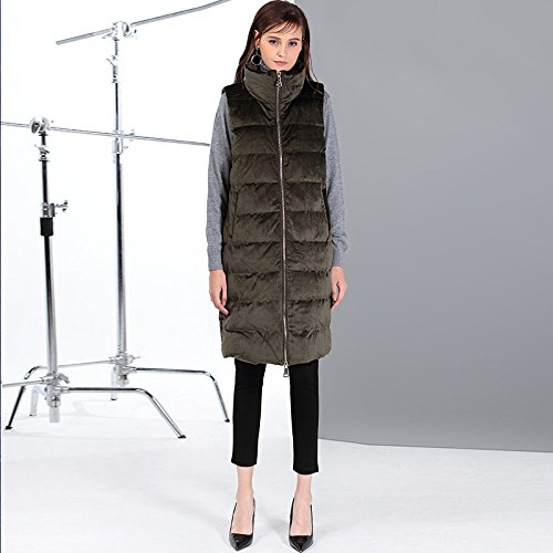 Solid DYF Coat Collar Women Jacket Green Color Sleeveless XL Zipper Down Vest 8rwB78O