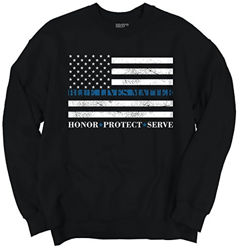 Pro Life Sweatshirt (Blue Lives Matter Flag Thin Blue Line Police Honor Support Crewneck)