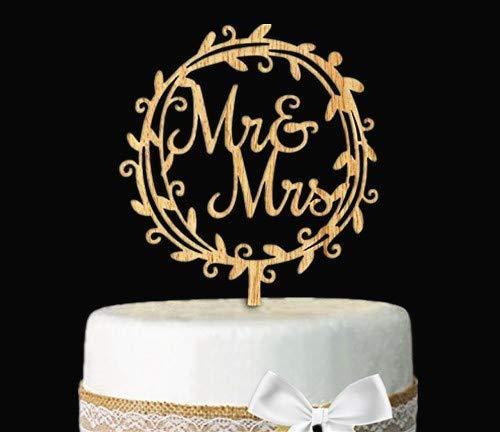 Giga Gud Mr Mrs Wood Wreath Cake Topper Birthday Cake Topper, Wedding Reception,Wedding Cake Decoration (Circle)