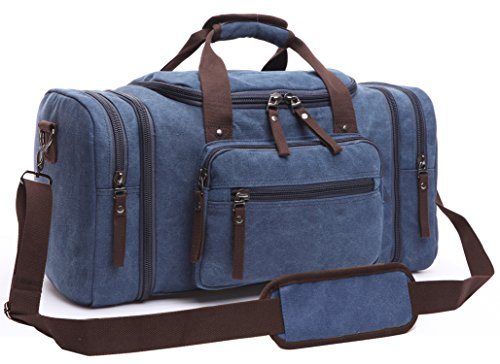 Canvas Duffel Bag, Aidonger Vintage Canvas Weekender Bag Travel Bag Sports Duffel with Shoulder Strap (Dark Blue) from Aidonger