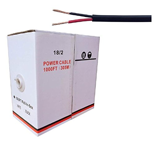 1000FT BLACK JACKET 18/2 POWER CABLES WIRE CORD 18 AWG CCTV SECURITY SYSTEM