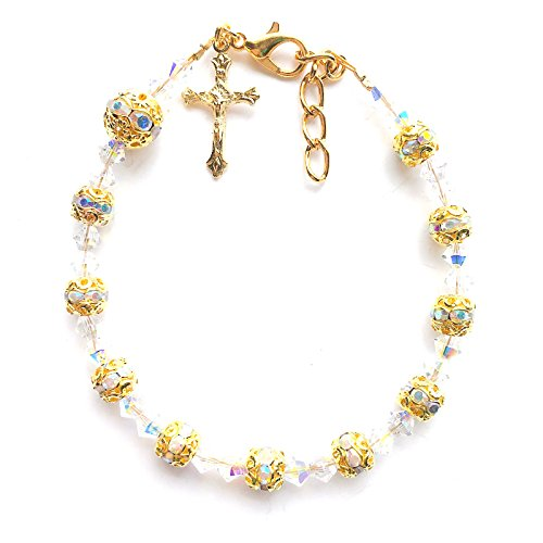 - Rana Jabero Sparkling Rosary Crucifix Cross Charm Bracelet Made with Crystals from Swarovski - Gold Plated