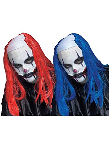 Mens Creepy Killer Clown Wig Headpiece Blue