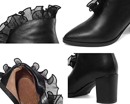 Black Hy Moda Nuovi Stivali stivali Stivaletti Pizzo A Autunno Con Da In Pelle Alla Spesso Tacco Punta Cavaliere Caviglia Scarpe inverno Velvet Eleganti Donna zBrEqdxrnw