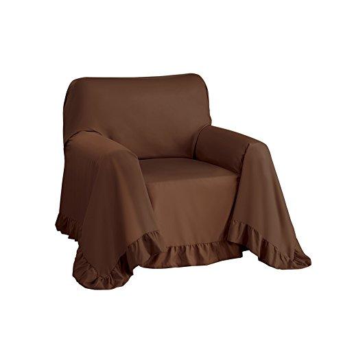 Ruffled Edge Furniture Protector Throw Cover, Chocolate, - Springtime Throw