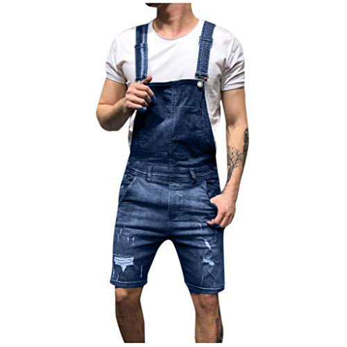(WOCACHI Mens Bib Overall Shorts Denim Jumpsuit Jeans Wash Broken Pocket Dungaree Suspender Pants 2019 Summer Deals Under 10 Dollars Sale Bargains New Walkshort Button Knee Length Cargo Coverall)
