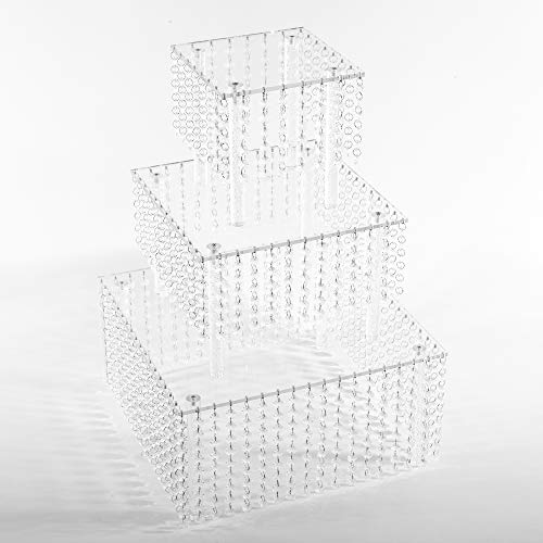 3 Tier Cascade (Butterflyevent 3 Tier Square Acrylic Crystal Beaded Chandelier Cake Stand For Birthday Wedding Party Cascade Cupcake Tower Wedding Centerpiece)