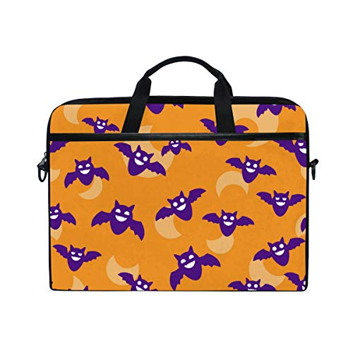 TARTINY 15-15.4 Inch Laptop Bag Seamless Halloween Backgrounds Bats Moon Wallpaper Shoulder Messenger Bags Sleeve Case Tablet Briefcase with Handle Strap