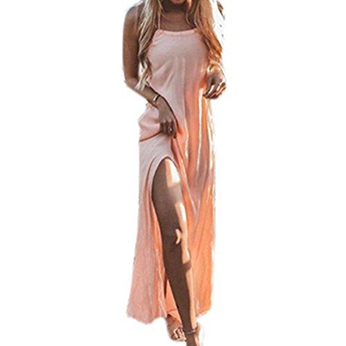 Vestido Falda Casual Hombro Rosado Manga de Larga de Playa Mujer Vestido Tirantes Dress Elegante Casual Vestido Playa 2018 Suelto Verano Maxi Sin Noche YqCIwxpRF