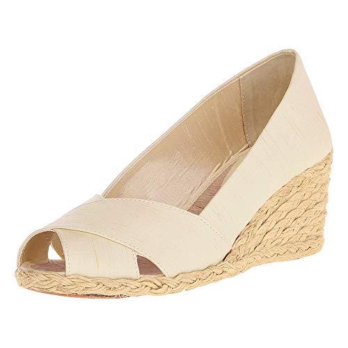 Nailyhome Womens Espadrille Wedge Sandals Slip On Peep Toe High Heels Summer Pumps ()