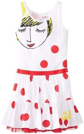 Desigual Big Girls' Polka Dot Tank Dress with Shy Girl, Red/White, 7/8