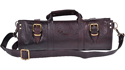 Boldric Brown Leather Knife Bag - 18 Pockets by Boldric
