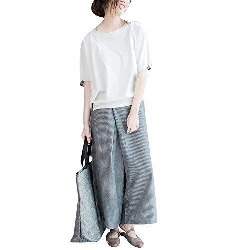 Donna Larghi Righe Sottili Pantaloni Di Verticali Grandi Dimensioni Estivi Missmaom Grigio EFfqOP