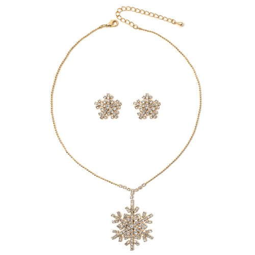 Dangle Crystal Rhinestone Snowflake Necklace and Matching Earrings Jewelry Set (Bead Chain Dangle)