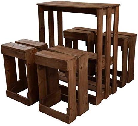 Conjunto de Mesa y Taburetes hecho a mano con madera de Palets ...