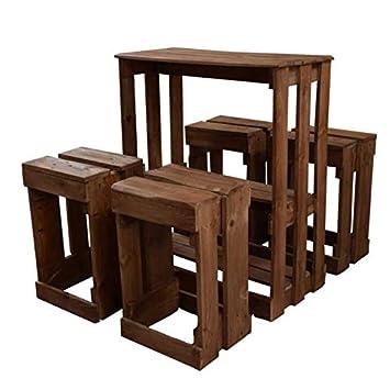 Conjunto de Mesa y Taburetes hecho a mano con madera de ...