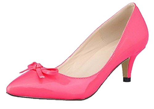 HooH Women's Pointed Toe Sweet Bowknot Kitten Pumps-Rose Red-37 gdHeL