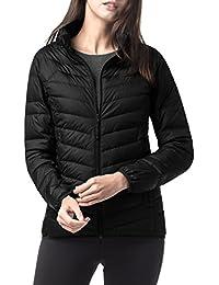 Women's Down Jacket Coat Zipper Closure Ultra Lightweight Windproof Quilted Puffer Duvet Outerwear L18