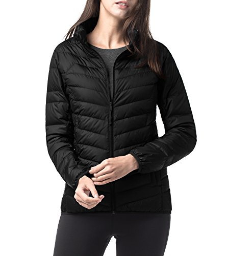 Lapasa Women's Packable Ultra Light Weight Down Jacket L18 (M, Black)