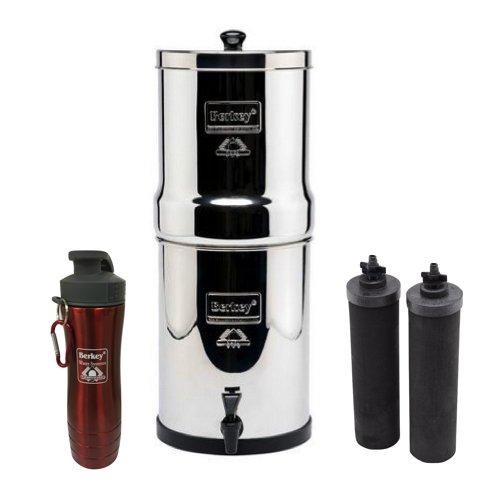 Travel Berkey Stainless Steel Water Filtration System w/ 2 Black Filters and Berkey Stainless Steel Bottle - Red (1.5 Gallon (Travel Berkey)) by Berkey