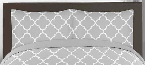 Sweet Jojo Designs 3-Piece Gray and White Trellis Childrens and Teen Full / Queen Boy or Girl Bedding Set Collection
